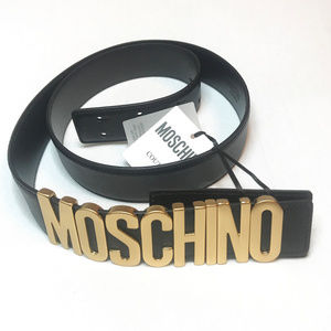New  Authentic Moschino Gold matte logo black belt